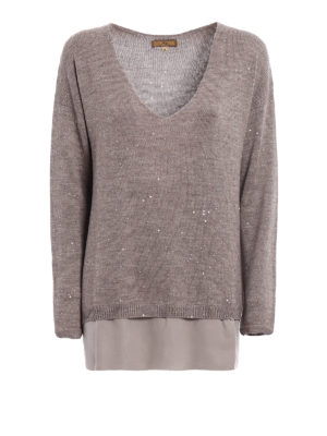 Fay: v necks - Sequined beige wool sweater