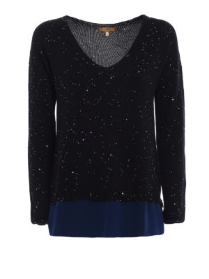 Fay: v necks - Sequined black wool sweater