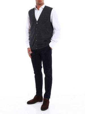 Fay: vests online - Lightweight wool vest cardigan