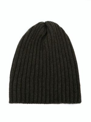 FEDELI: berretti - Berretto in cashmere a coste verde scuro