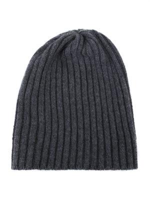 FEDELI: berretti - Berretto in cashmere a coste grigio