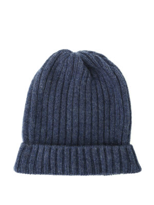 Fedeli: beanies - Light blue ribbed cashmere beanie