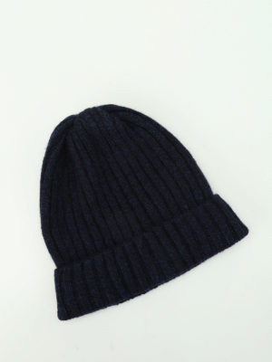 Fedeli: beanies online - Blue ribbed cashmere beanie