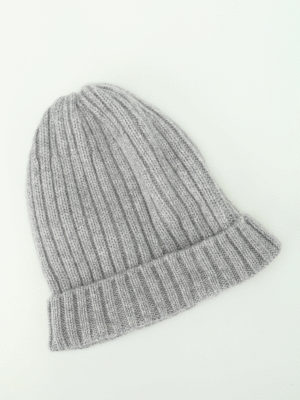 Fedeli: beanies online - Grey ribbed cashmere beanie