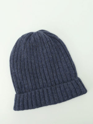 Fedeli: beanies online - Light blue ribbed cashmere beanie