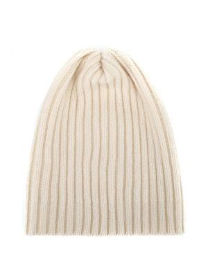 FEDELI: berretti - Berretto in cashmere a coste bianco