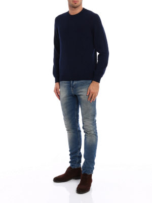 Fedeli: crew necks online - Melange cashmere slim sweater