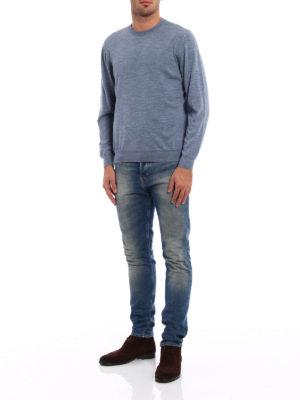 Fedeli: crew necks online - Melange combed wool sweater