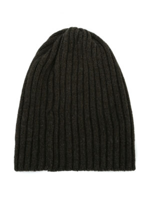 FEDELI: berretti online - Berretto in cashmere a coste verde scuro
