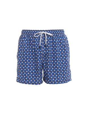 Fedeli: Swim shorts & swimming trunks - Blue flowers print swim pants