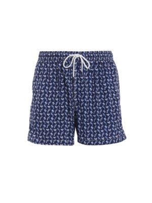 Fedeli: Swim shorts & swimming trunks - Blue parrots print swim pants
