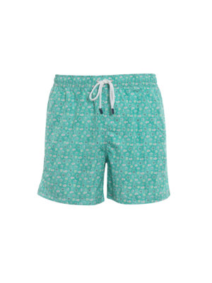Fedeli: Swim shorts & swimming trunks - Green beach print swim pants