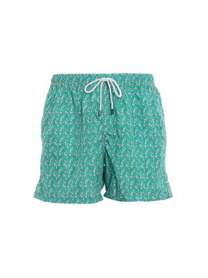 Fedeli: Swim shorts & swimming trunks - Green parrots print swim pants