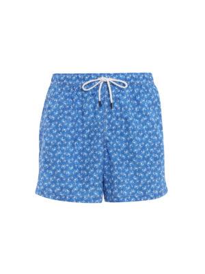 Fedeli: Swim shorts & swimming trunks - Light blue beach print swim pants