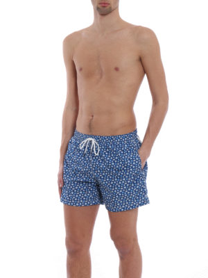 Fedeli: Swim shorts & swimming trunks online - Blue beach print swim pants