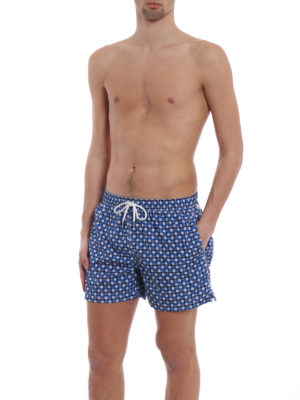 Fedeli: Swim shorts & swimming trunks online - Blue flowers print swim pants