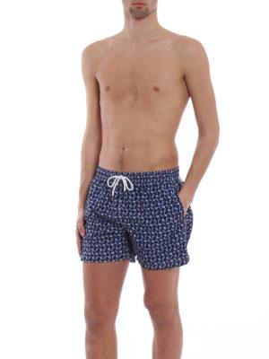 Fedeli: Swim shorts & swimming trunks online - Blue parrots print swim pants