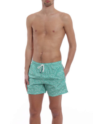 Fedeli: Swim shorts & swimming trunks online - Green beach print swim pants