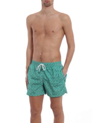 Fedeli: Swim shorts & swimming trunks online - Green parrots print swim pants