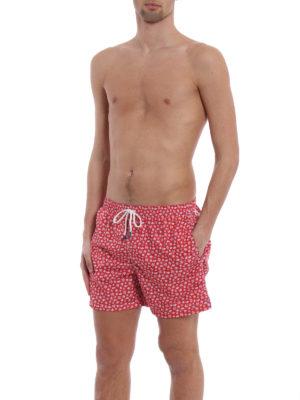 Fedeli: Swim shorts & swimming trunks online - Red beach print swim pants