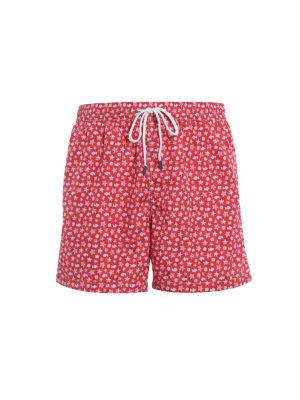 Fedeli: Swim shorts & swimming trunks - Red beach print swim pants