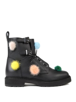 Fendi: ankle boots - Mink fur pompom leather booties