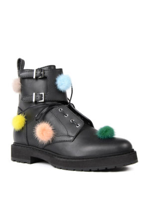 Fendi: ankle boots online - Mink fur pompom leather booties