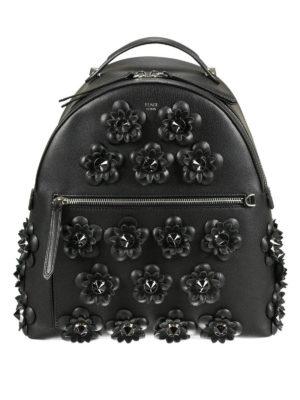 Fendi: backpacks - Flowerland leather backpack