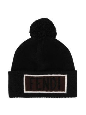 FENDI: berretti - Berretto in lana nera con intarsio Fendi