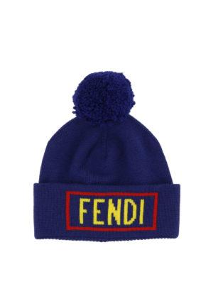 FENDI: berretti - Berretto in lana blu con intarsio Fendi