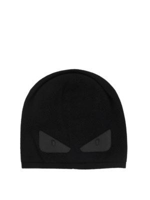 FENDI: berretti - Berretto in lana nera con Bag Bugs in pelle