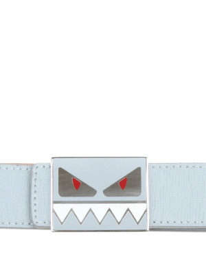 FENDI: cinture - Cintura in pelle celeste con fibbia Bag Bugs