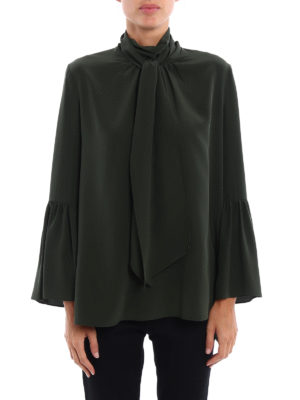 Fendi: blouses online - Pussy bow silk blouse
