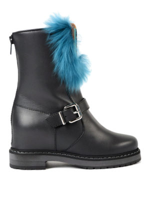 Fendi: boots - Fur insert concealed wedge boots