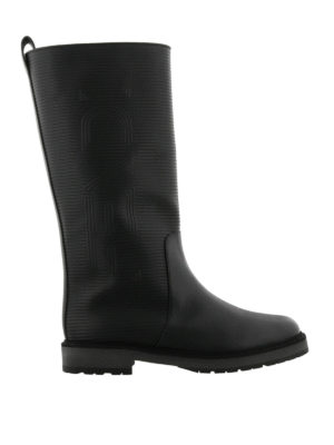 Fendi: boots - Leather and rubber logo boots