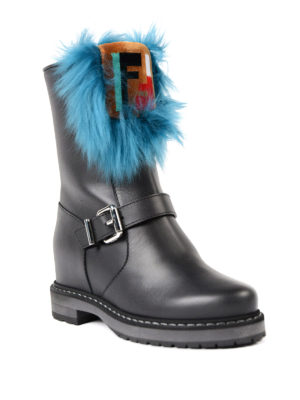 Fendi: boots online - Fur insert concealed wedge boots