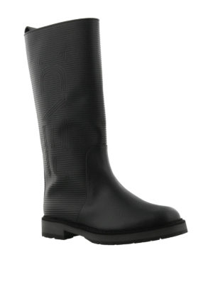 Fendi: boots online - Leather and rubber logo boots