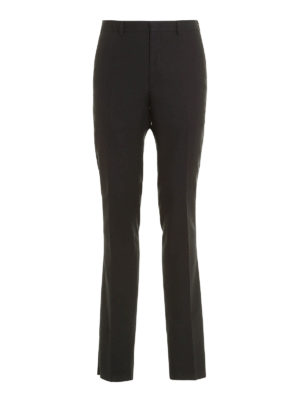 Fendi: casual trousers - Embroidered cotton chino trousers