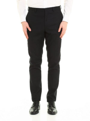 Fendi: casual trousers online - Embroidered cotton chino trousers