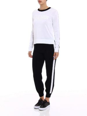 Fendi: casual trousers online - White bands knitted cotton trousers
