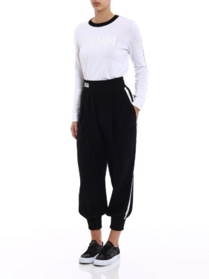 Fendi: casual trousers online - White bands silk trousers