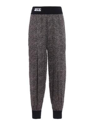 Fendi: casual trousers - Pop chevron cloqué trousers