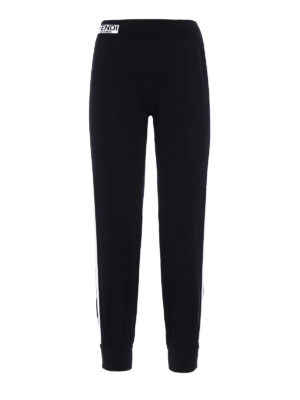 Fendi: casual trousers - White bands knitted cotton trousers
