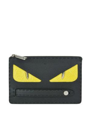 FENDI: pochette - Clutch in pelle martellata con Bag Bugs