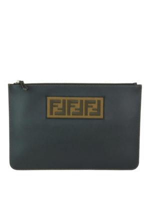 FENDI: pochette - Clutch in pelle con patch FF jacquard