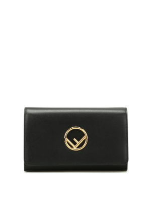 Fendi: clutches - Golden F black leather clutch
