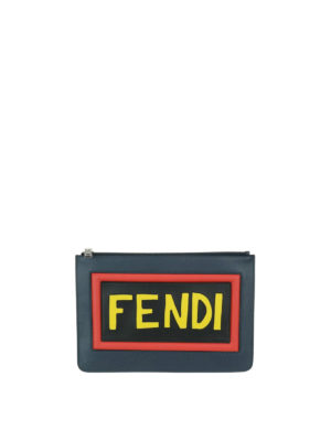 Fendi: clutches - Think Fendi leather zipped clutch