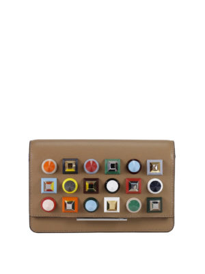 Fendi: clutches - Wallet on Chain Rainbow stud clutch