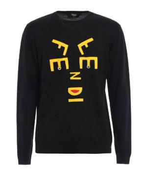 Fendi: crew necks - Face Words wool sweater