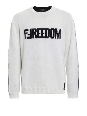 FENDI: maglia collo rotondo - Pullover in lana bicolore con intarsi